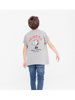 Camiseta niño pocket now gris