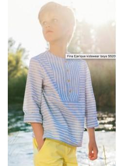 Camisa rayas limón y azul