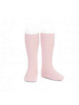 Calcetín alto canalé rosa...