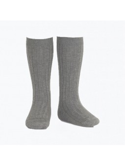 Calcetín alto canalé gris...