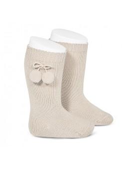 calcetín alto bolas lino